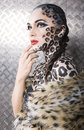 Portrait of beautiful young european model in cat make up and bodyart close Royalty Free Stock Image