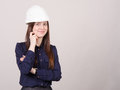 Portrait a beautiful young girl in helmet of twenty-five Royalty Free Stock Photo