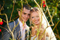 Portrait of beautiful young wedding couple Stock Photography