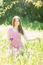 Portrait of a beautiful young woman with brown hair Royalty Free Stock Photo
