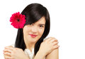 Portrait beautiful young woman flower her hair isolated white Royalty Free Stock Images