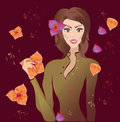 Portrait of a beautiful young woman with flowers. Vector Illustration. Floral background