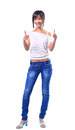 Portrait of a beautiful young woman showing thumbs up sign Royalty Free Stock Photography