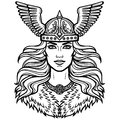 Portrait of the beautiful young woman Valkyrie in a winged helmet.