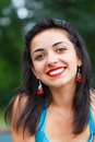 Portrait of a beautifully similing woman beautiful brunette lady smiling kindly Royalty Free Stock Photo
