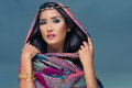Portrait of a beauty arabian lady in a sensual bea Royalty Free Stock Photo