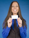 Portrait of beauty business woman with visit card blank close up Stock Photos