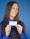 Portrait of beauty business woman with visit card blank close up Stock Images