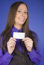 Portrait of beauty business woman with visit card blank close up Royalty Free Stock Image