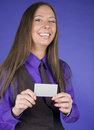 Portrait of beauty business woman with visit card blank close up Royalty Free Stock Photos