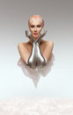 Portrait of beauty cyber woman from the future with clay hairstyle and silver hands Royalty Free Stock Photo