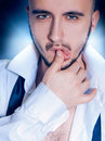Portrait of a beauty man in studio head and shoulders adult Royalty Free Stock Photo