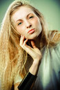 Portrait of the beauty young blond girl with make up Royalty Free Stock Photography
