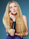 Portrait of the beauty young blond woman with make up Royalty Free Stock Image