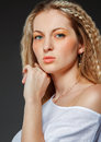 Portrait of the beauty young blond woman with make up close Royalty Free Stock Photo