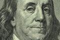 Portrait of benjamin franklin on the hundred dollar bill closeup Stock Photo