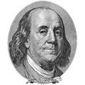 Portrait of benjamin franklin macro with copyspase Stock Photography