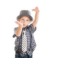 Portrait blond boy wearing hat studio shoot isolated white background Stock Photos