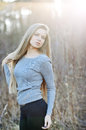 Portrait of blond woman on nature young Royalty Free Stock Image