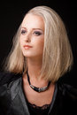 Portrait of blond woman with smokey eyes make up beauty close Royalty Free Stock Image