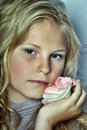 Portrait of a blonde girl with flower roses Royalty Free Stock Photo