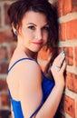 Portrait of blue-eyed seductive brunette Royalty Free Stock Photo