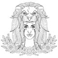 Portrait of boho girl with leon head mask, woman in floral wreath. Vector illustration for tattoo, adult coloring