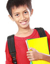 Portrait of boy with backpack smiling isolated on white background Stock Photography