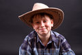 Portrait of a boy in a cowboy hat Stock Photography
