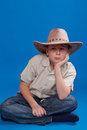 Portrait of a boy in a cowboy hat Stock Photo