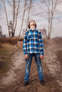 Portrait of boy dreamer on outdoors Royalty Free Stock Images