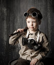 Portrait of a boy in the industrial style art Royalty Free Stock Photography