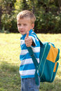 Portrait of a boy with a school backpack. Stock Photos