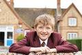 Portrait Of Boy In Uniform Outside School Building Royalty Free Stock Photo