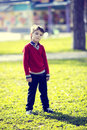 Portrait of a boy on walk in the park Stock Images