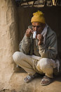 Portrait of brahman man nepal drinking tea Stock Photos