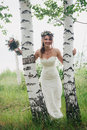 Portrait of a bride on  background  leaves and forest Royalty Free Stock Photo