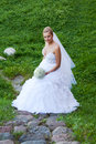 Portrait of bride with bouquet Royalty Free Stock Image