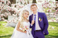 Portrait of a bride and groom in a park with white lace parasol Stock Photography