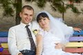 Portrait bride and groom romance beautiful happy on wedding day Royalty Free Stock Photography