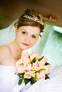 Portrait of the bride in the wedding car Royalty Free Stock Photo