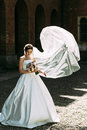 Portrait of the bride in the windy weather Royalty Free Stock Photo