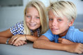 Portrait of brother and sister blond teenagers looking at camera Stock Photography