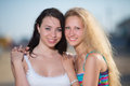 Portrait of brunette and blonde Royalty Free Stock Photo