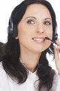 Portrait of brunette call-center operator Stock Photo