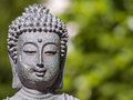 Portrait of a buddha against green shallow depth field Royalty Free Stock Photos