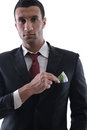 Portrait of a business man holding and catch falli Stock Image