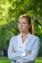 Portrait of business woman in the city garden Royalty Free Stock Photography