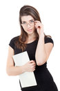 Portrait of business woman with paper folder Stock Photos