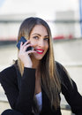 Portrait of Business Woman using smart phone Royalty Free Stock Photo